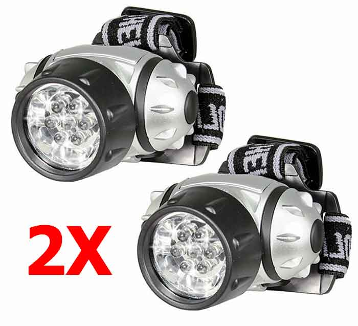 Lightweight Headlamp.  Includes 2 Headlamps.  7 LED Adjustable Headlamp. Pivoting Head Assembly: UP or Down.  FREE Shipping.