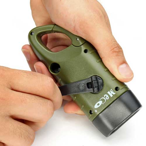 Solar Hand Crank Flashlight with Carabiner for Quick Access.  Compact size for easy carry.  Self-Contained will work Day or Night.  FREE Shipping.