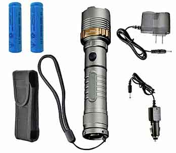 Self Defense Flashlight Kit.  Everything You Need is Included. Flashlight, Batteries, AC and DC Chargers and Holster.