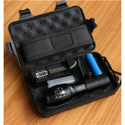 Best Tactical Flashlight for the Money. CREE XML-T6 LED.  Zoomable Lens. Rechargeable 18650 Battery and Charger Included. AAA Battery Holder. Storage Box.