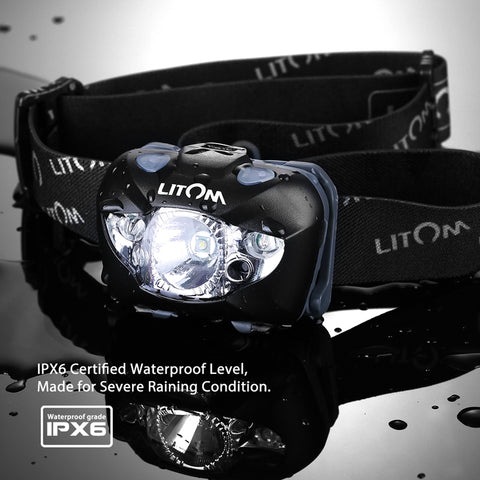 Ultralight Headlamp. Reduces Neck Strain. With Gesture Control. Weather Resistant to IPX-6. 3-LEDs: 1-White and 2-Red.  Uses 3 AAA Batteries.