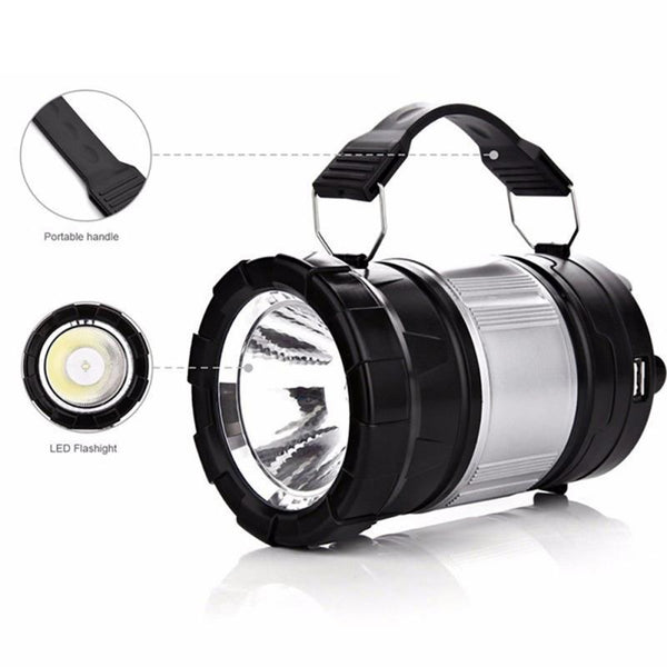 Waterproof [IP65] LED Lantern & Flashlight Combo. Collapsible to Save Space. Rechargeable Battery. 2 Power sources: Solar Power or AC 120 Volt.