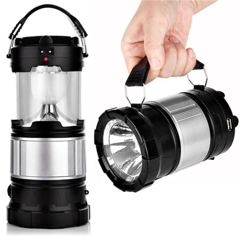 Waterproof LED Lantern and Flashlight Combo. Collapsible to Save Space. Rechargeable Battery.  2 Power sources: Solar Power or AC 120 Volt.  USB Cell Phone Charger.