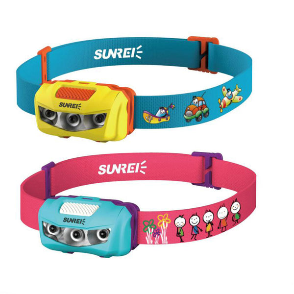 Children's Headlamp.  Weatherproof.  Two White LEDs and One RED LED.  Uses 2 AAA Batteries.  This Headlamp is More than a Toy.  It's Built to the Same High Quality that Adult Headlamps are Built. As Low as $17.50 each.