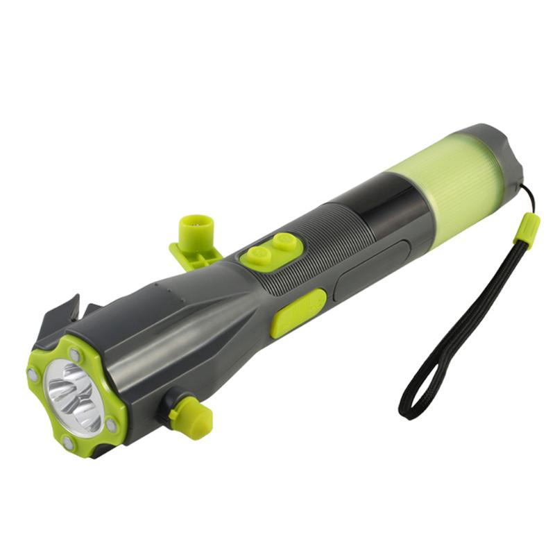 Best Flashlight to Keep in Car.  Emergency Crank Flashlight and Cell Phone Charger. Car Window Breaker. Red Flashing Strobe. Magnet to mount on your Car.