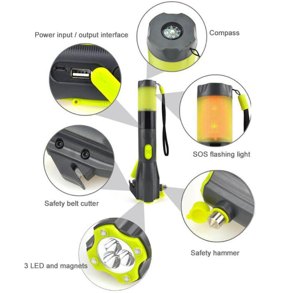 Best Flashlight to Keep in Your Car. Emergency Crank Flashlight and Cell Phone Charger. 7-Unique Emergency Tools Built In. Includes Window Breaker.