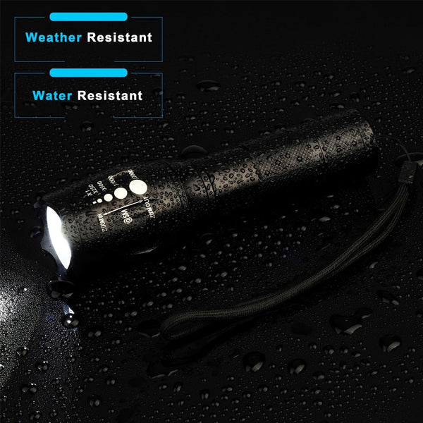 High Intensity Flashlight. XML-T6 LED. Zoomable Lens. Can use either 18650 or AAA Batteries. 18650 Battery, Charger & AAA Battery Holder are Included.