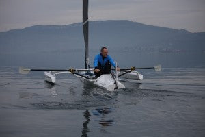 This R2AK custom designed vessel was created by Liteboat, and will be a solo effort by Mathieu Bonnier. It is designed to sail and to be propelled with a sliding seat rowing system.