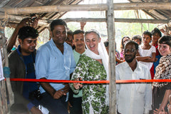 Bernadette cutting the ribbon at the inauguration of the new preschool