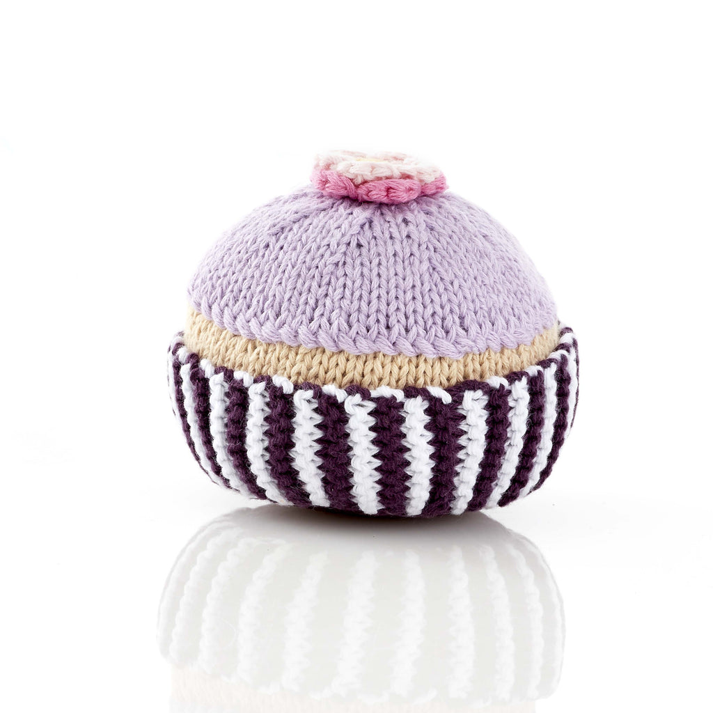 Purple Cupcake with Sugar Flower / Rattle