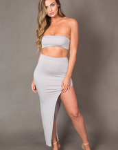 BIANCA GREY TWO PIECE TOP