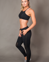 Black Athletic Mesh Joggers