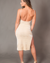 Jaclyn Nude Strappy Velvet Dress