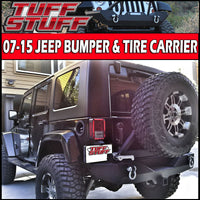 TUFF STUFF®Jeep JK Rear Bumper & Tire Carrier W/ Aluminum Handle 07-18 Jeep Wrangler JK Textured Black