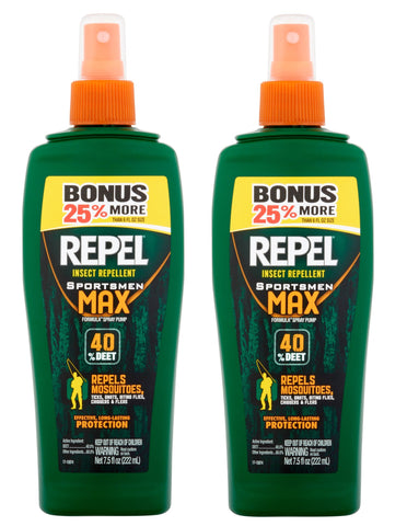 REPEL HG-84101 7.5 oz Sportsmen Max Insect Repellent 40-Percent DEET Pump Spray, Twin Pack (Bonus 25% More)