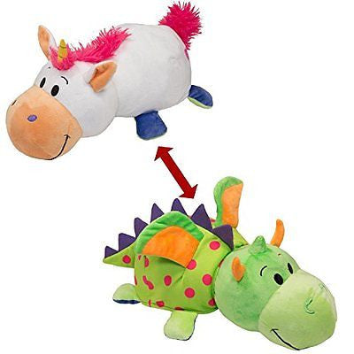 "FLIPAZOO (DRAGON + UNICORN)  2-in-1 Stuffed Animal 16"" inch Flip A Zoo Huggable"
