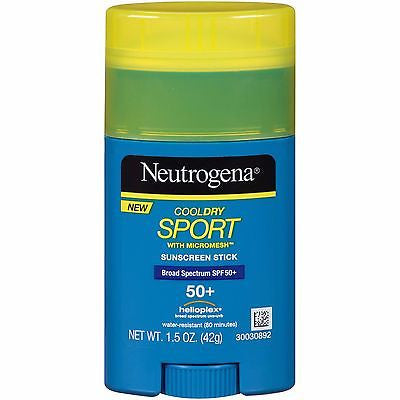 Neutrogena CoolDry SPORT Sunscreen Body STICK SPF 50, EXP 2018 Broad UVA UVB