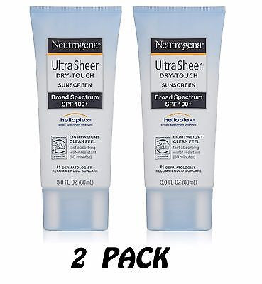 2pk - Neutrogena Ultra Sheer Dry-Touch Sunscreen SPF 100 3oz UVA UVB Helioplex