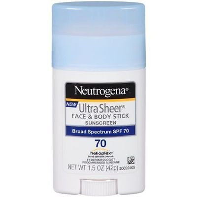 New Neutrogena Sunscreen Ultra Sheer Stick SPF 70 1.5 Ounce 1.5 oz UVA UVB