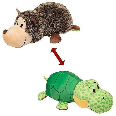"COMBO 16"" FlipAZoo & 5"" Flipzee  (HEDGEHOG + TURTLE ) FLIP A ZOO 2 Huggable Fun"