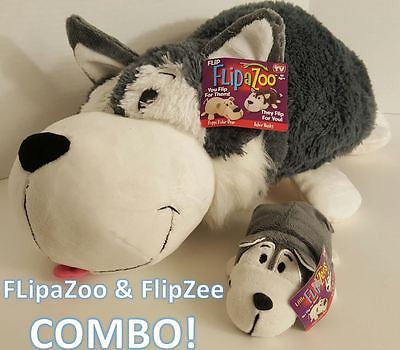 "COMBO FlipAZoo 16"" & FlipZee 5""  HUSKY + POLAR BEAR, FLIPAZOO 2-in-1 Stuffed Fun"