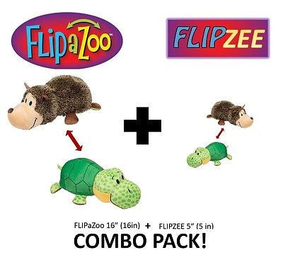 "Hedgehog + Turtle COMBO PACK - 16"" FlipAZoo & 5"" Flipzee FLIP A ZOO Huggable Fun"