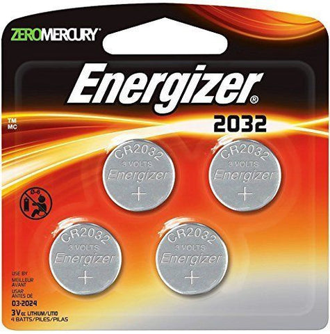 4/Pack Energizer 2032 Batteries, EXP 2024 240mAh 3V Lithium Watch 2032BP-4 Coin