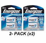 (2PK x2 =4) Energizer Ultimate 9V Lithium Batteries 9 V Battery L522BP2 EXP 2026