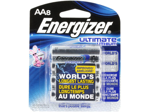 AA8 Energizer Ultimate AA Lithium Batteries 8-Pack Exp. 2036 (L91BP-8)