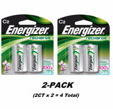 4CT Energizer C2 Rechargeable Size C Batteries, NiMH Recharge NH35BP-2 (2CTx2)