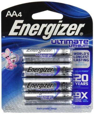 Energizer AA4 Ultimate Lithium Battery EN-L91 EXP 2033 (Pack of 4 AA Batteries)