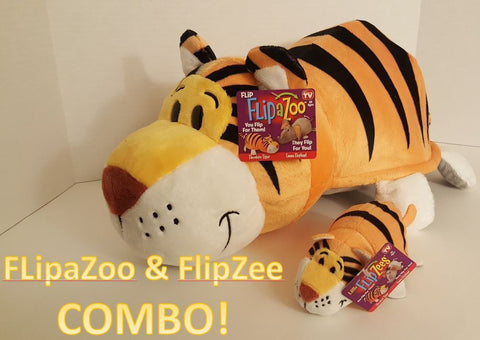 ELEPHANT + TIGER FLIPAZOO & FLIPZEE COMBO, 16 & 5 in Pillow Huggable Flip A Zoo