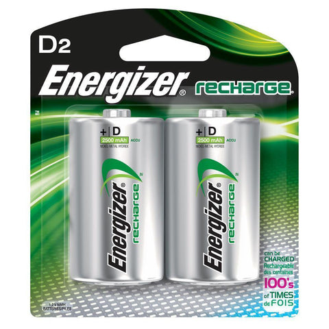 Energizer D2 Rechargeable Size D Batteries, 2-Count Recharge NiMH EXP 2021