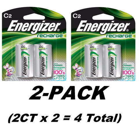 2CTx2 Energizer C2 Rechargeable Size C Batteries, NiMH Recharge NH35BP-2 Total=4