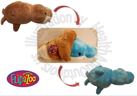 "16"" Flip A Zoo ( WALRUS + DOLPHIN ) Stuffed Animal FLIPAZOO Huggable 2 -in-1"
