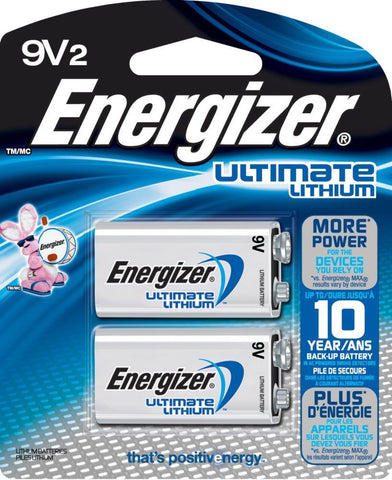 2/Pack Energizer Ultimate Lithium Batteries, 9V - Lithium Batteries L522BP2 2x1