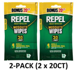 2-PACK Repel 94144 Sportsmen 30% DEET Mosquito Repellent Wipes, 20ct (40-Total)