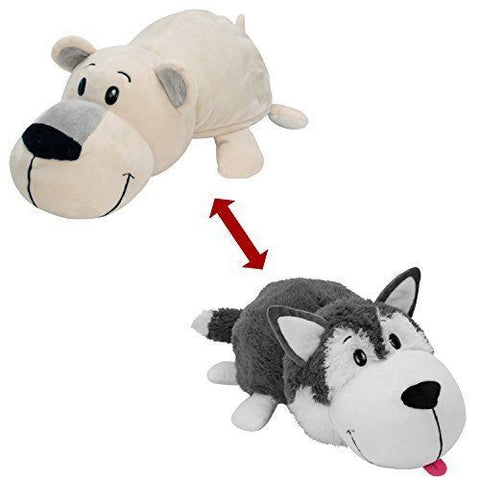 "Flip A Zoo ( HUSKY + POLAR BEAR ) 16"" Stuffed FLIPAZOO Pillow Huggable Fun 2 in1"