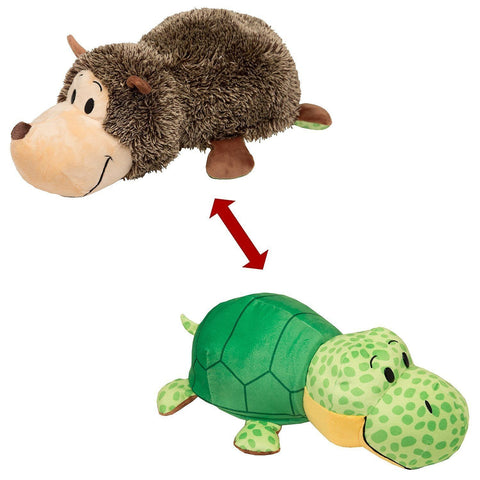 "Flip A Zoo ( HEDGEHOG + TURTLE ) 16"" Stuffed FLIPAZOO Pillow Huggable Fun 2-in-1"
