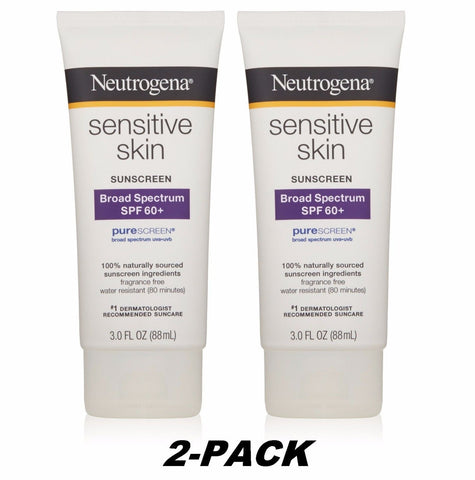 2PK-SALE Neutrogena Sensitive Skin Sunscreen Lotion SPF60 3oz  EX2018 PureScreen
