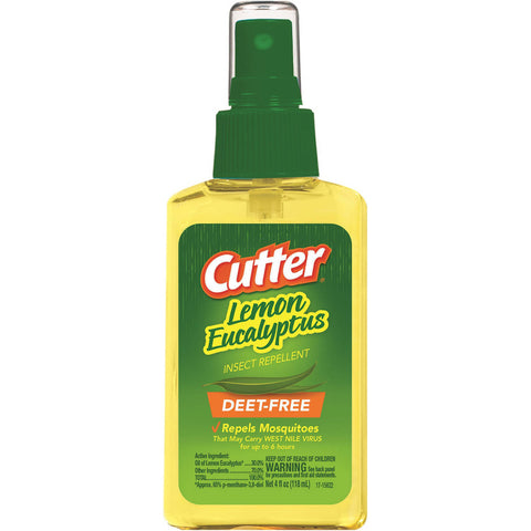 Cutter Lemon Eucalyptus Insect & Mosquito Repellent 4oz, DEET-FREE Family