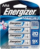 Energizer L91BP-8 Ultimate Lithium AA Batteries (8-Pack)- 1.5v AA8 3000mAh X2036