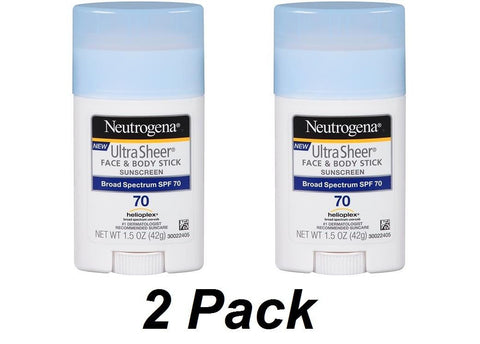 2pk- New Neutrogena Sunscreen Ultra Sheer Stick SPF 70 -1.5 Ounce 1.5oz UVA UVB