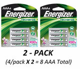 (x2) 4/pack AAA Energizer Rechargeable NiMH Batteries EXP 2021 AAA4 Recharge