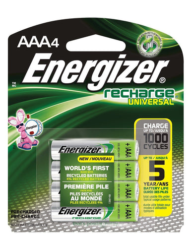 4/pack AAA Energizer Rechargeable NiMH Batteries EXP 2021 AAA4 Recharge 1.2V