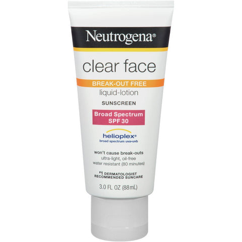 Neutrogena Clear Face 30 - Sunscreen Lotion SPF 30 3oz UVB Broad Helioplex X2018