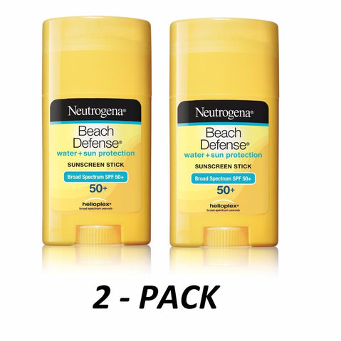 2-PACK Neutrogena Beach Defense Body STICK 1.5oz Sunscreen SPF 50+ UVA/UVB
