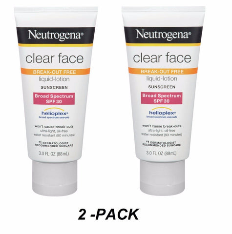 2-PK Neutrogena Sunscreen CLEAR FACE Break-out Free Liquid Lotion SPF 30 3oz