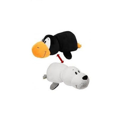 "Flip A Zoo (PENGUIN / SEAL)  2-in-1 Stuffed Animal 16"" inch FLIPAZOO Huggable"