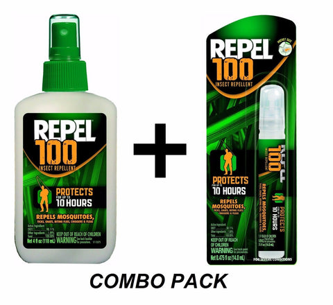 COMBO PACK: Repel 100 4oz Pump + .475oz Pen Spray Insect Mosquito Repellent ZIKA